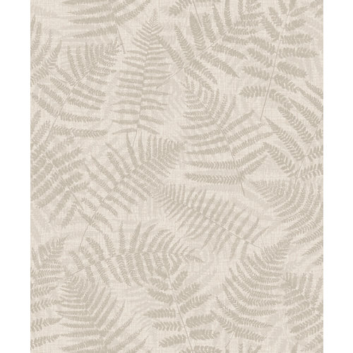 Papel pintado tnt floral hojas marrón beige