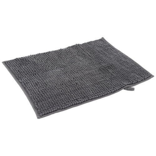 Alfombra de baño chenille rectangular gris 40x60 cm