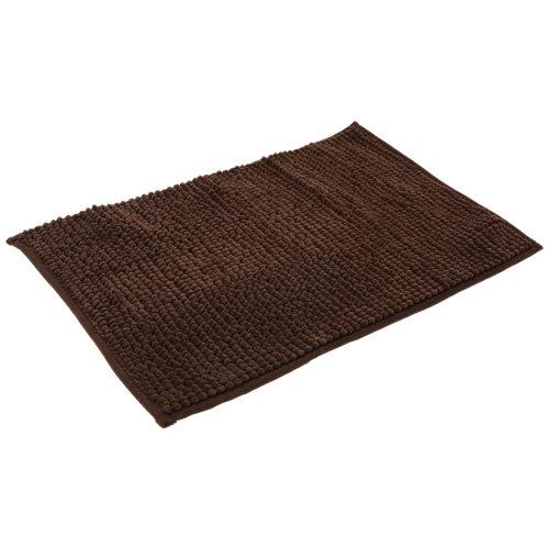 Alfombra de baño chenille rectangular marrón chocolate 40x60 cm