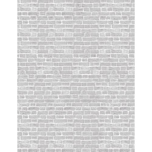 Mural autoadhesivo grey brick blanco 193x250 cm