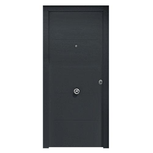 Puerta de entrada metálica saga fresada gris izquierda de 90x210 cm