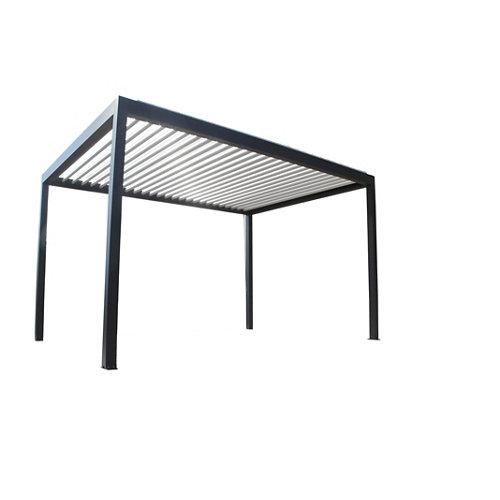 Pérgola de aluminio bioclimática caleta gris de 413x308 cm
