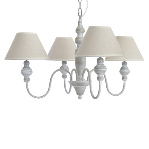 Lámpara romance 4 luces gris/crudo