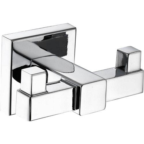 Percha de baño quaddro gris / plata brillante