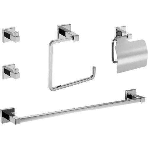Set baño 5 accesorios quaddro gris / plata cromado brillante