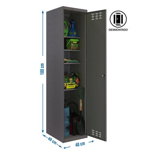Armario multi desmontado 1 puerta 4 estantes 40 gris
