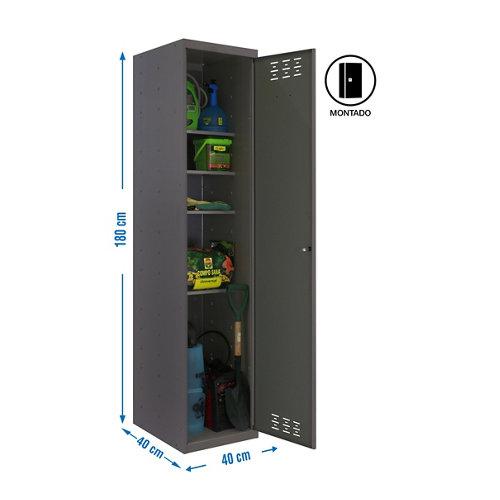 Armario montado cabinet 1 puerta 4 estantes 40 gris