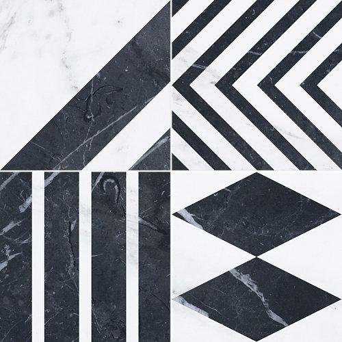 Pavimento porcelánico velvet 33.15x33.15 geo-negro c1