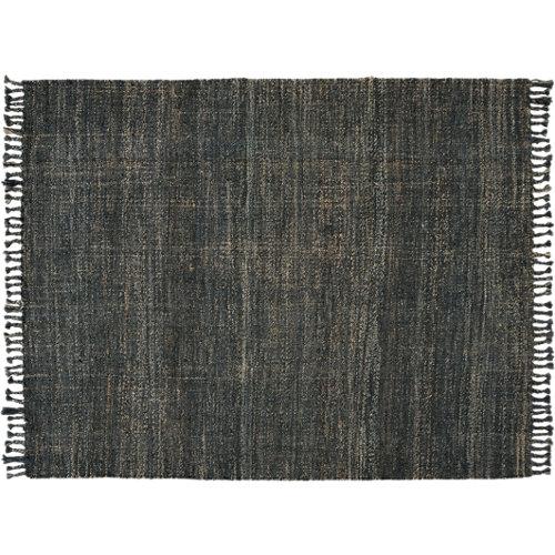 Alfombra color gris / plata/negro natural yute 160cm x 230cm