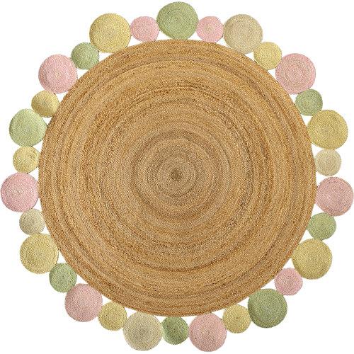 Alfombra multicolor yute corona multi 90 x 90cm