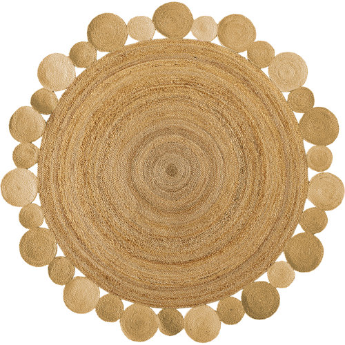 Alfombra beige yute corona 140 x 140cm