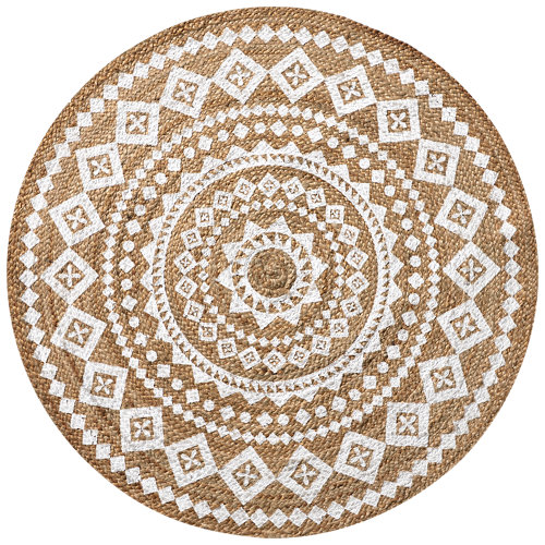 Alfombra blanca yute yute stampato 90 x 90cm