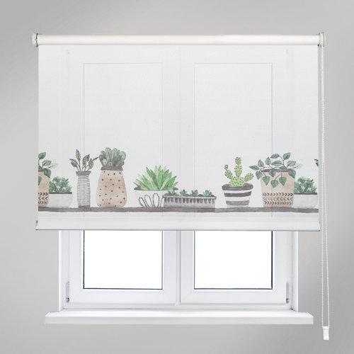Estor enrollable cactus blanco de 90x190cm