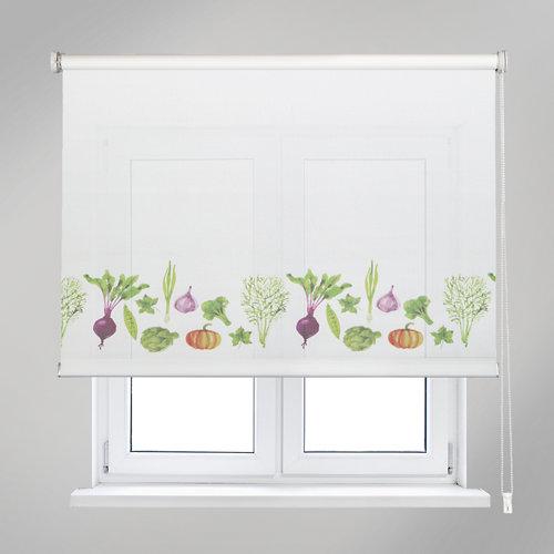 Estor enrollable vegetables blanco de 90x190cm
