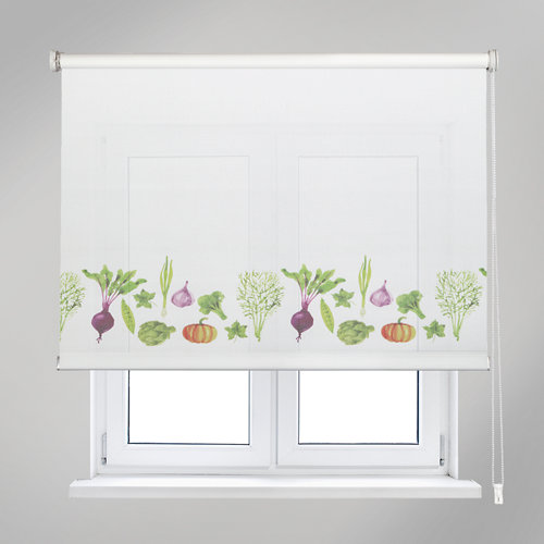 Estor enrollable vegetables blanco de 135x190cm