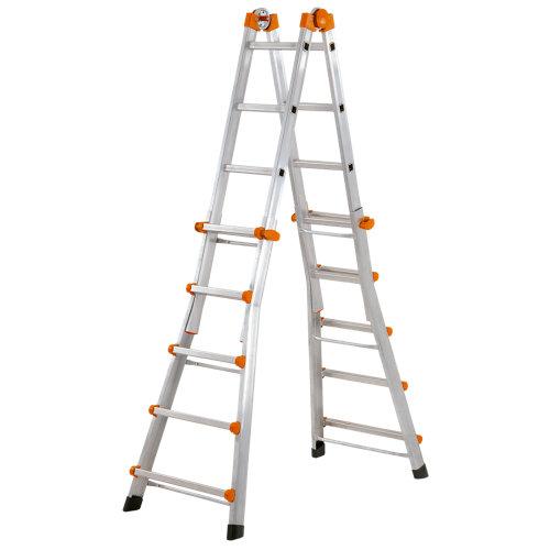 Escalera telescópica aluminio 5x4 peldaños 5,70 m altura máxima