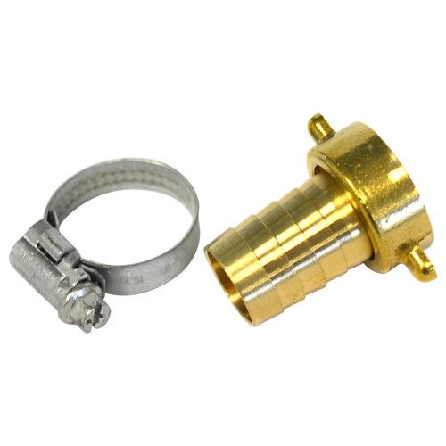 """Conector a grifo hembra 3/4"""" - salida manguera 19/20mm. con abrazadera"""