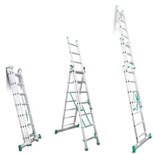 Escalera multiusos aluminio 7+7+7 peldaños 4,50 m altura máxima