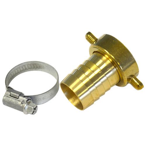 """Conector a grifo hembra 1"""" - salida manguera 25mm. con abrazadera"""