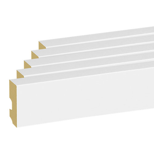 Pack de 5 rodapiés de mdf blanco 10x2205x1,5 cm
