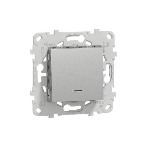 Interruptor con piloto schneider new unica aluminio
