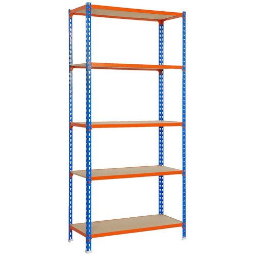 Estanteria sin tornillos maderclick azul/naranja 5/40