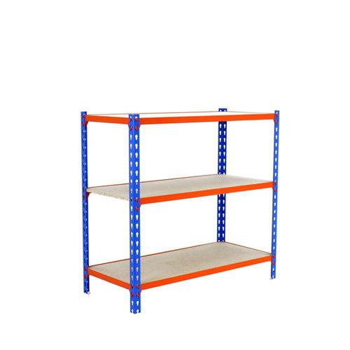 Estanteria sin tornillos maderclick azul/naranja 3/40