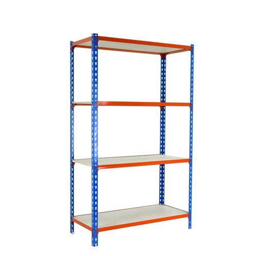 Estanteria sin tornillos maderclick azul/naranja 4/30