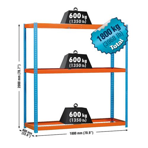 Estanteria simonforte 3 azul/naranja/galva 200x180x60cm