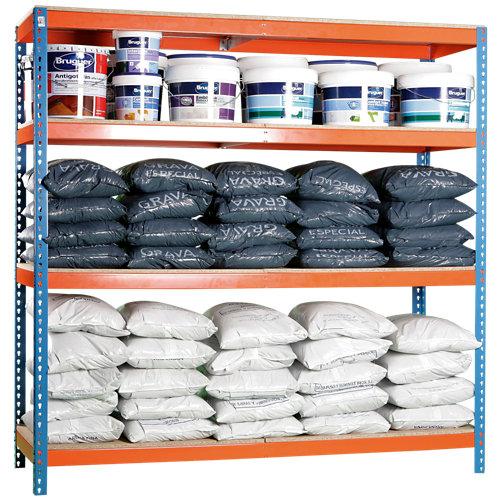 Estanteria ecoforte azul/naranja/madera 200x120x45cm