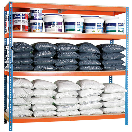 Estanteria ecoforte azul/naranja/madera 200x150x45cm