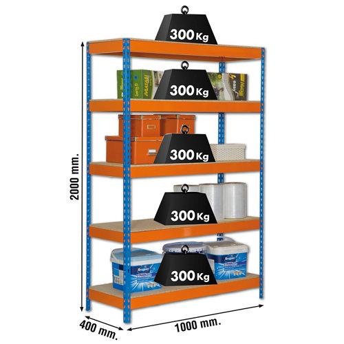 Estanteria bricoforte azul/naranja/madera 200x100x45cm
