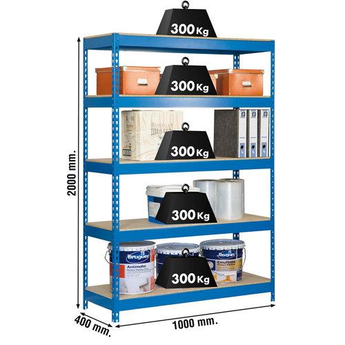 Estanteria bricoforte azul/madera 200x100x45cm