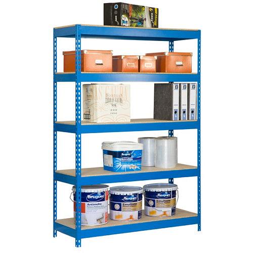 Estanteria bricoforte azul/madera 200x120x45cm