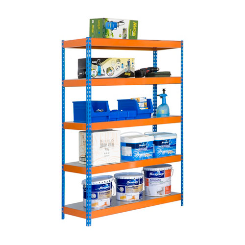 Estanteria bricoforte metal azul/naranja/galva 200x100x45cm