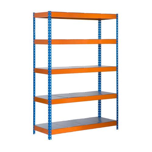 Estanteria bricoforte metal azul/naranja/galva 200x120x45cm