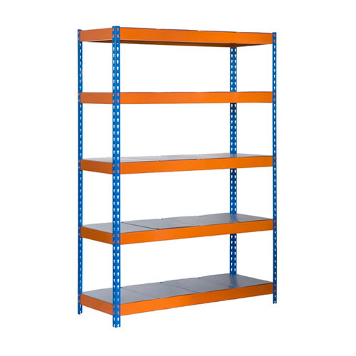 Estanteria bricoforte metal azul/naranja/galva 200x120x60cm