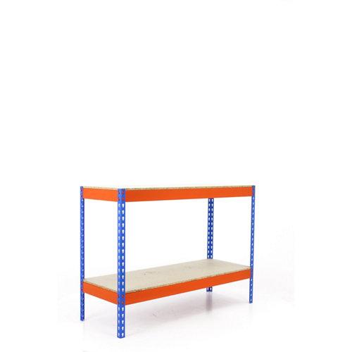 Estanteria simonforte 2 azul/naranja/madera 90x150x45cm