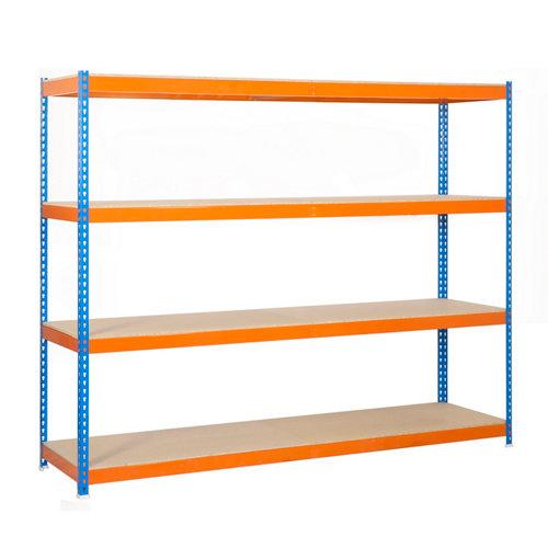Estanteria simonforte 4 azul/madera 175x120x75 cm
