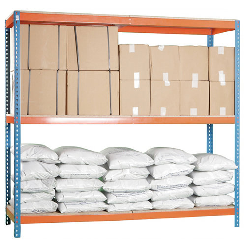 Estanteria ecoforte 3 azul/naranja/madera 200x120x60cm