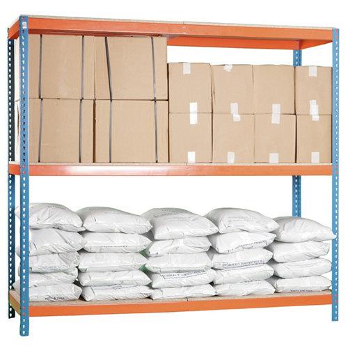 Estanteria ecoforte 3 azul/naranja/madera 200x150x45cm