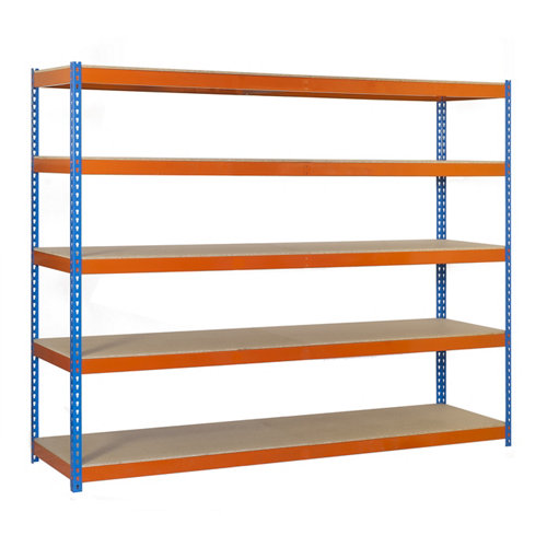 Estanteria ecoforte 5 azul/naranja/madera 200x180x45cm