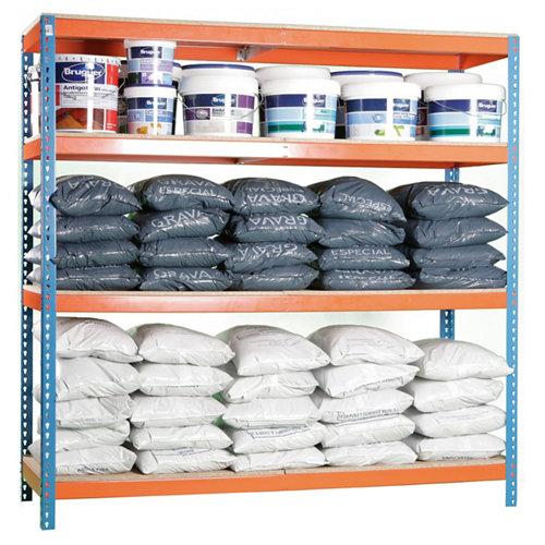 Estanteria ecoforte azul/naranja/madera 175x150x45cm