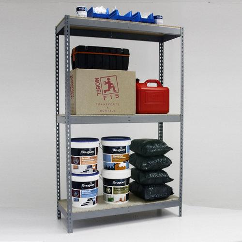 Estantería metálica en kit de acero de 75x150 cm y carga max. 400 kg por balda