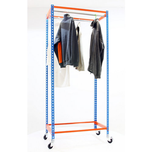 Estanteria simonclothing movil 2 colgadores azul/naranja
