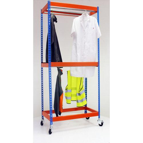 Estanteria simonclothing movil 3 colgadores azul/naranja