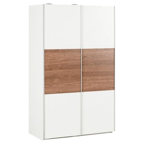 Armario ropero puerta corredera one blanco / nogal 120x200x60cm