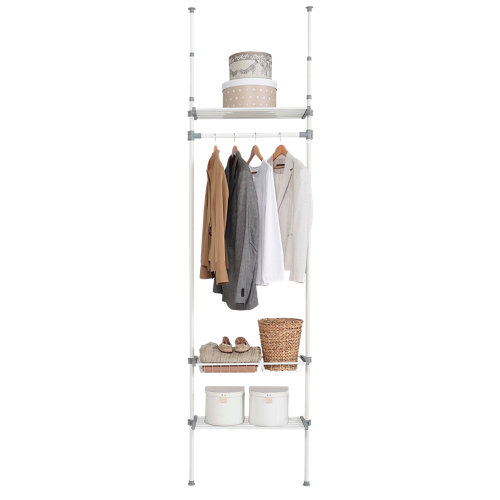 Kit vestidor blanco extensible dress 1 barra, 2 estantes y 1 cesta 240x68x25 cm