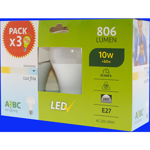 Pack 3 bombillas led 10w blanco