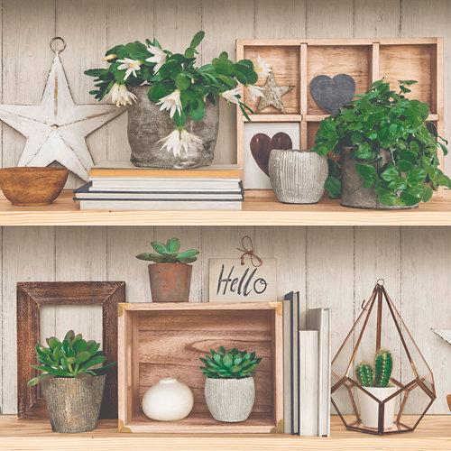 Papel estantería floral marrón 5,3 m²